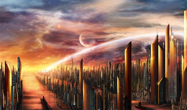素晴らしい技術で描かれた未来都市